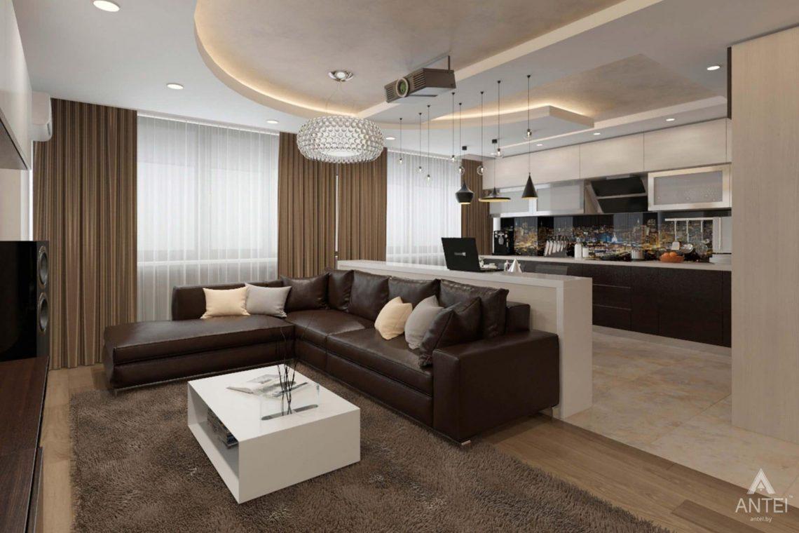 Дизайн интерьера квартиры в г. Гомеле, ул. Кожара, 55 - кухня-гостиная фото №1