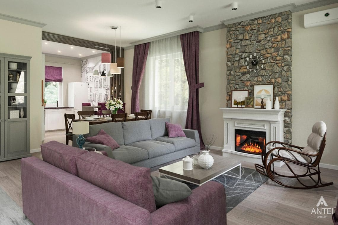 Дизайн интерьера загородного дома в Гомеле, п. Березки - гостиная фото №2