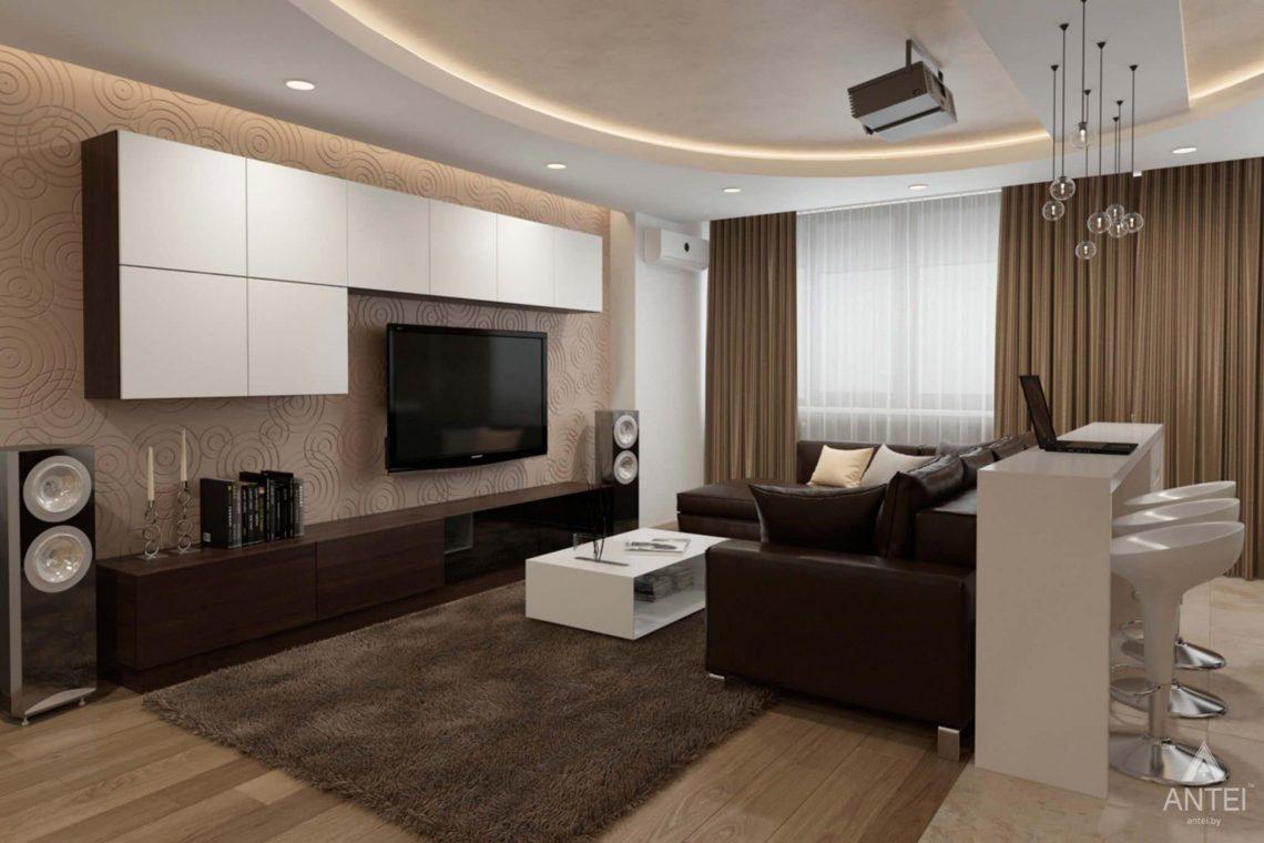 Дизайн интерьера квартиры в г. Гомеле, ул. Кожара, 55 - кухня-гостиная фото №4