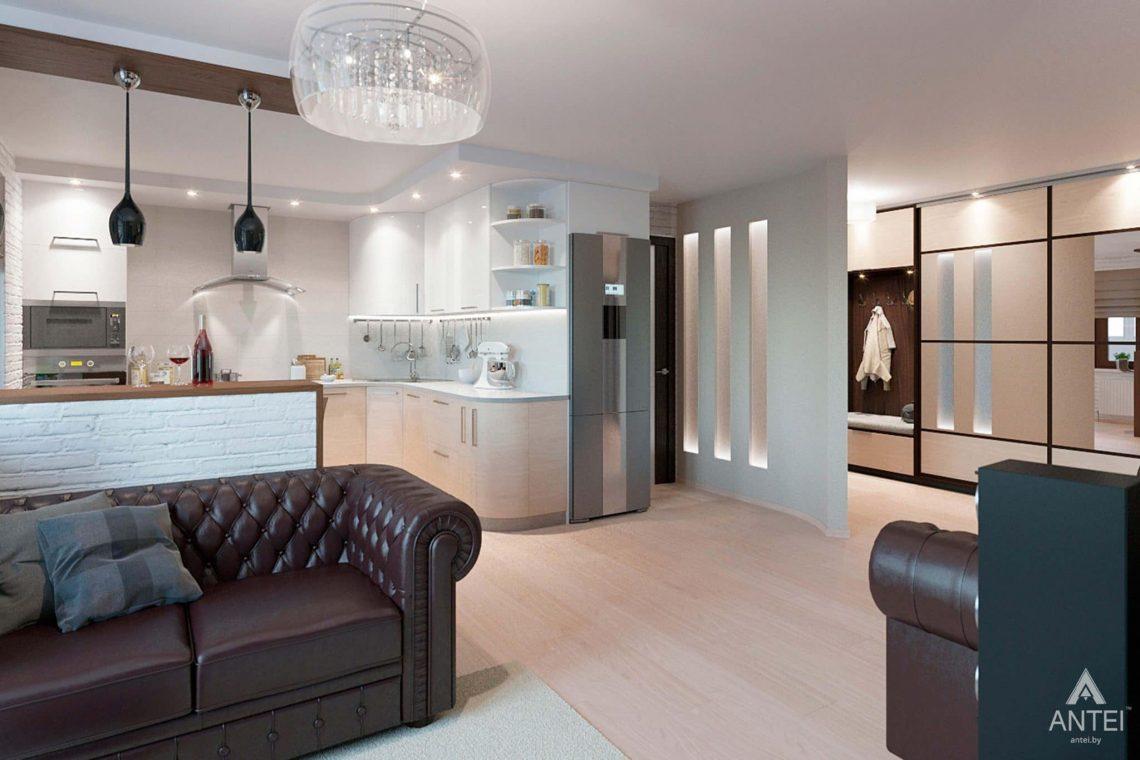Дизайн интерьера квартиры в Гомеле, ул. Ландышева, 14 - кухня-гостиная фото №2