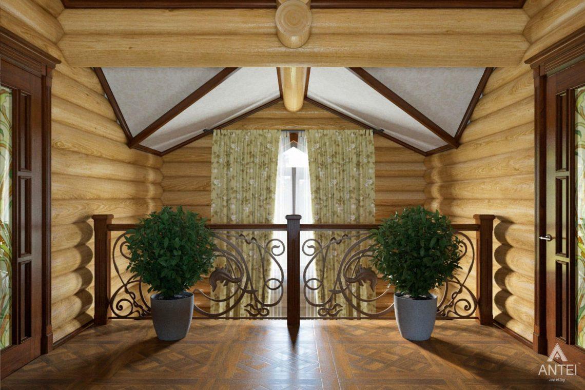 Дизайн интерьера загородного дома в Гомеле, р-не Романовичи - холл 2 этажа фото №1