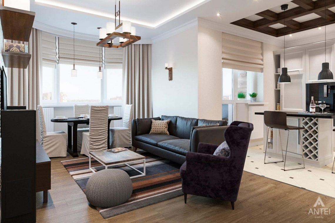 Дизайн интерьера трехкомнатной квартиры в Гомеле, ул.Тельмана - кухня-гостиная фото №1