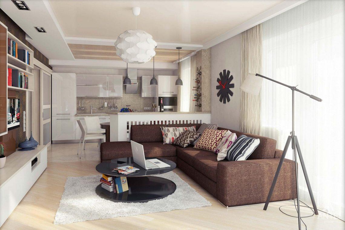 Дизайн интерьера квартиры в Гомеле - кухня-гостиная фото №1