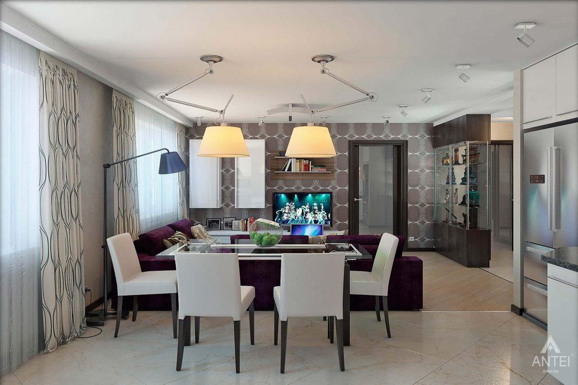 Дизайн интерьера квартиры в Гомеле - гостиная-кухня фото №3