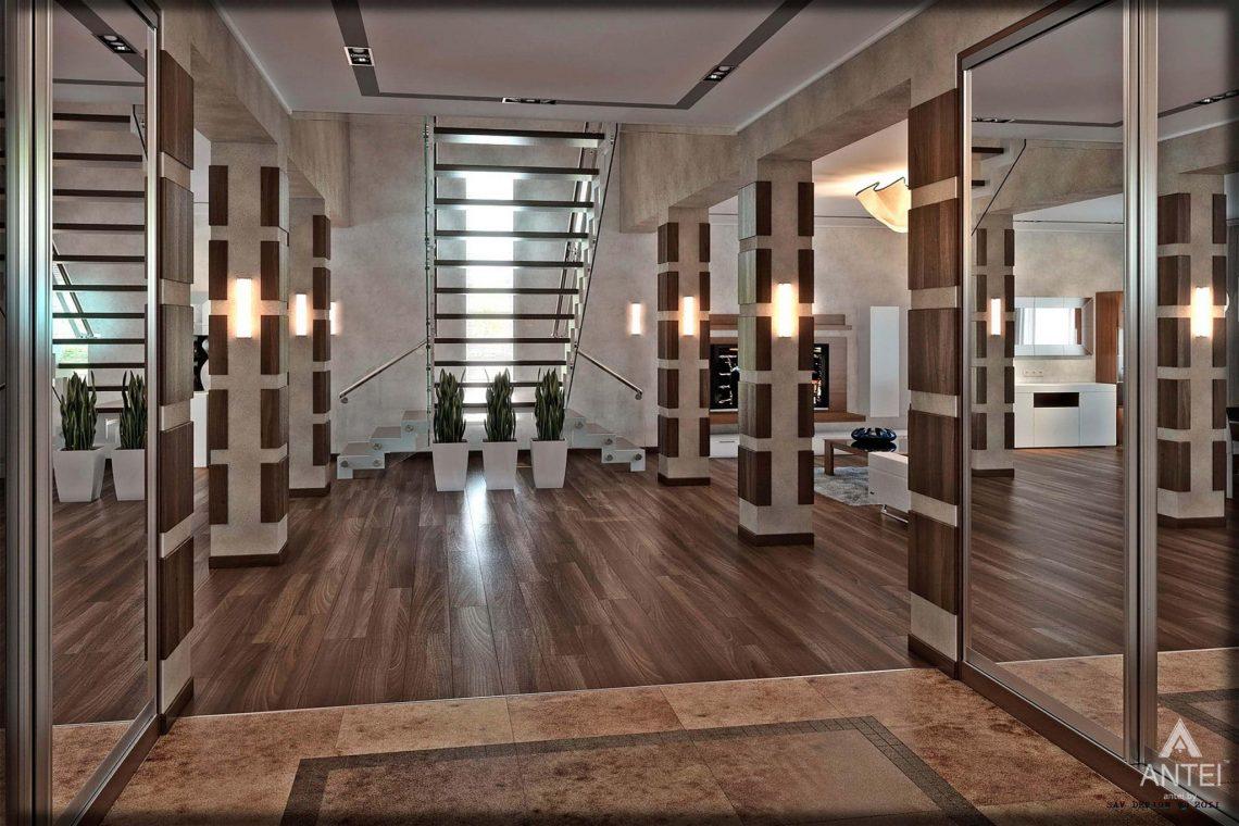 Дизайн интерьера загородного дома в Гомеле - лестница фото №2