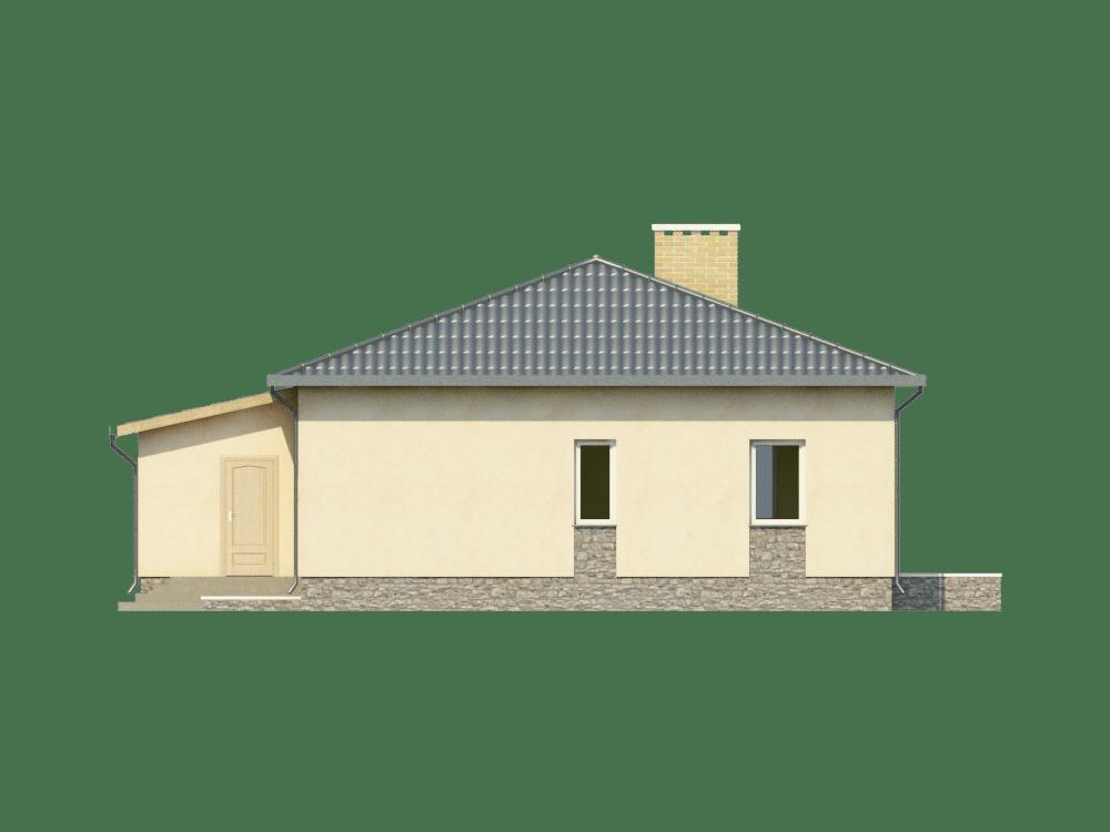 Фасад одноэтажного дома с гаражом и верандой «КО-21» - справа