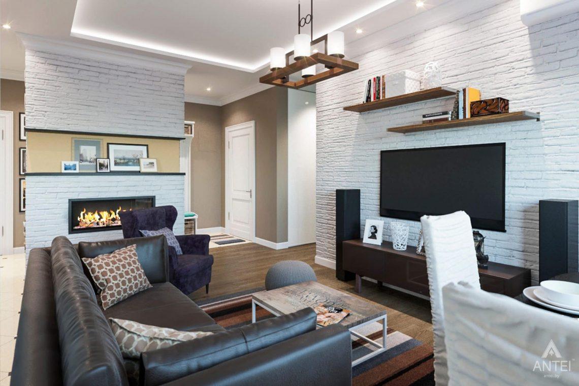 Дизайн интерьера трехкомнатной квартиры в Гомеле, ул.Тельмана - кухня-гостиная фото №2