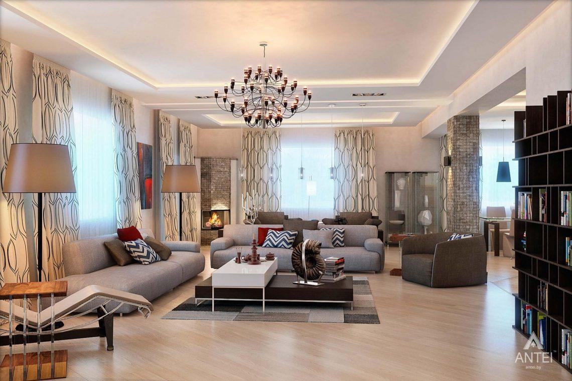 Дизайн интерьера загородного дома в Гомеле - гостиная фото №2
