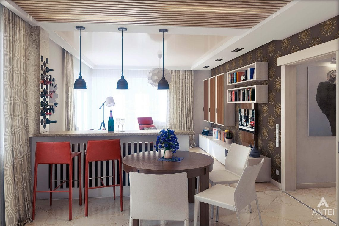 Дизайн интерьера квартиры в Гомеле - кухня-гостиная фото №4
