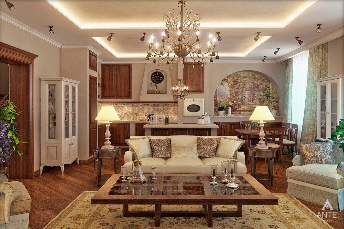 Дизайн интерьера таунхауса в России - кухня-гостиная фото №1