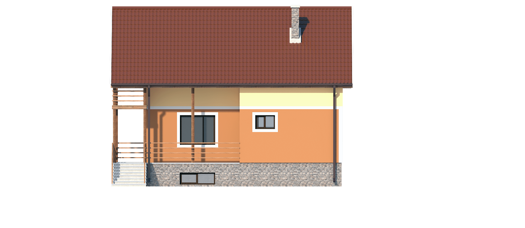 Фасад мансардного дома с террасой «КМ-1» - справа