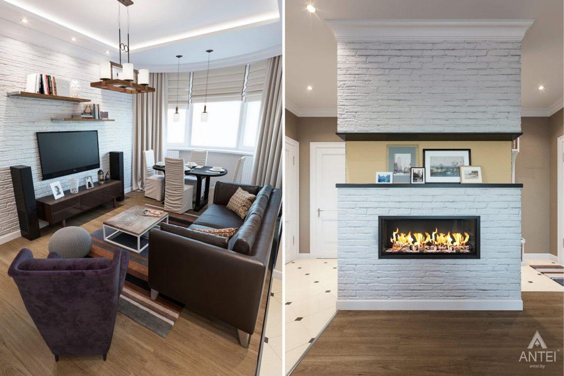 Дизайн интерьера трехкомнатной квартиры в Гомеле, ул.Тельмана - кухня-гостиная фото №3