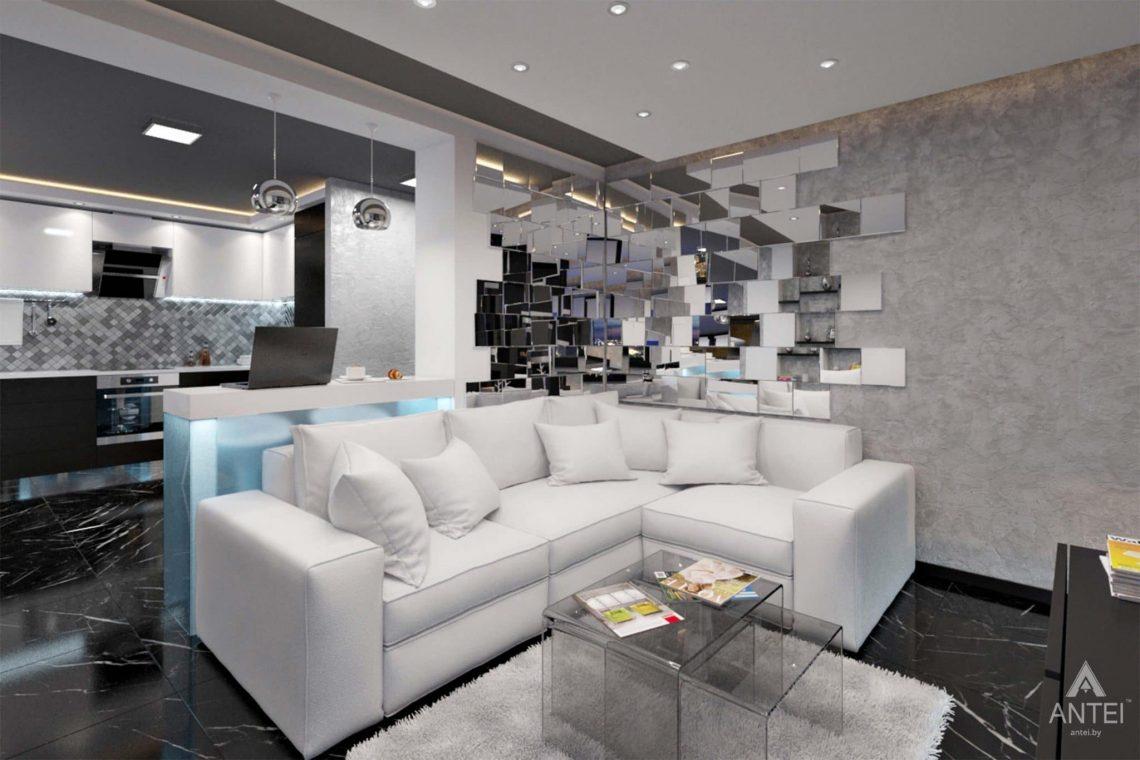 Дизайн интерьера квартиры-студии в Гомеле, ул. Кожара, 59а - гостиная фото №3