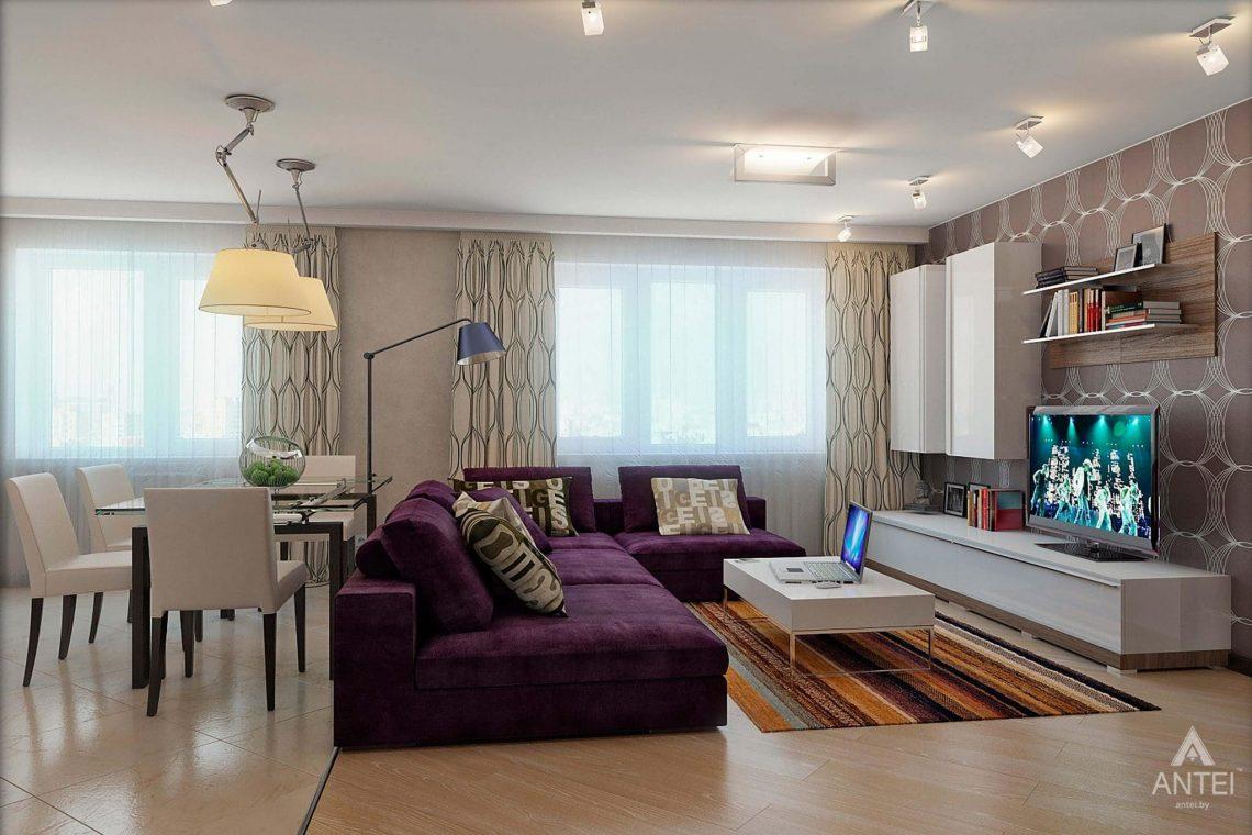 Дизайн интерьера квартиры в Гомеле - гостиная-кухня фото №2