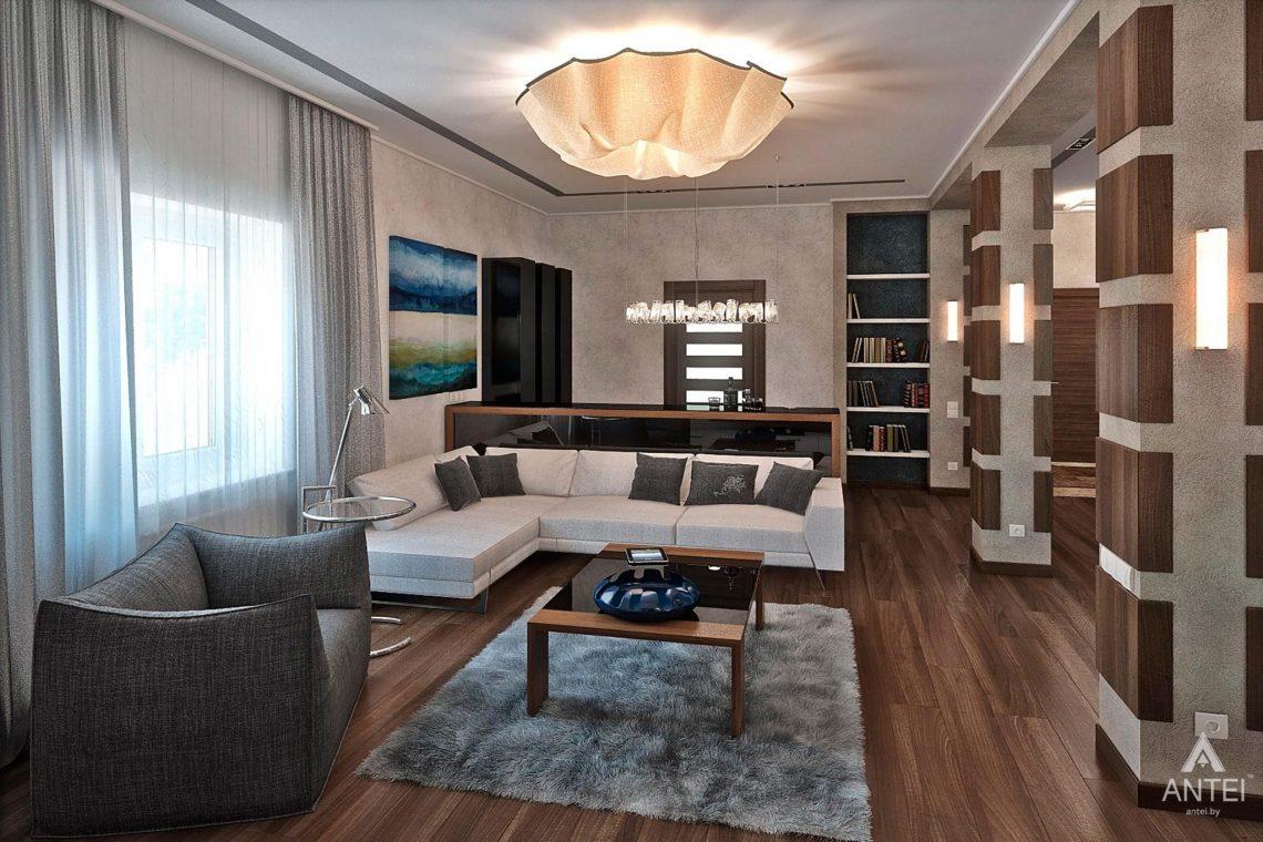 Дизайн интерьера загородного дома в Гомеле - гостиная фото №1