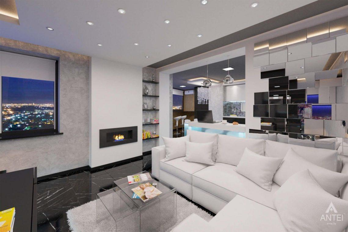 Дизайн интерьера квартиры-студии в Гомеле, ул. Кожара, 59а - гостиная фото №2