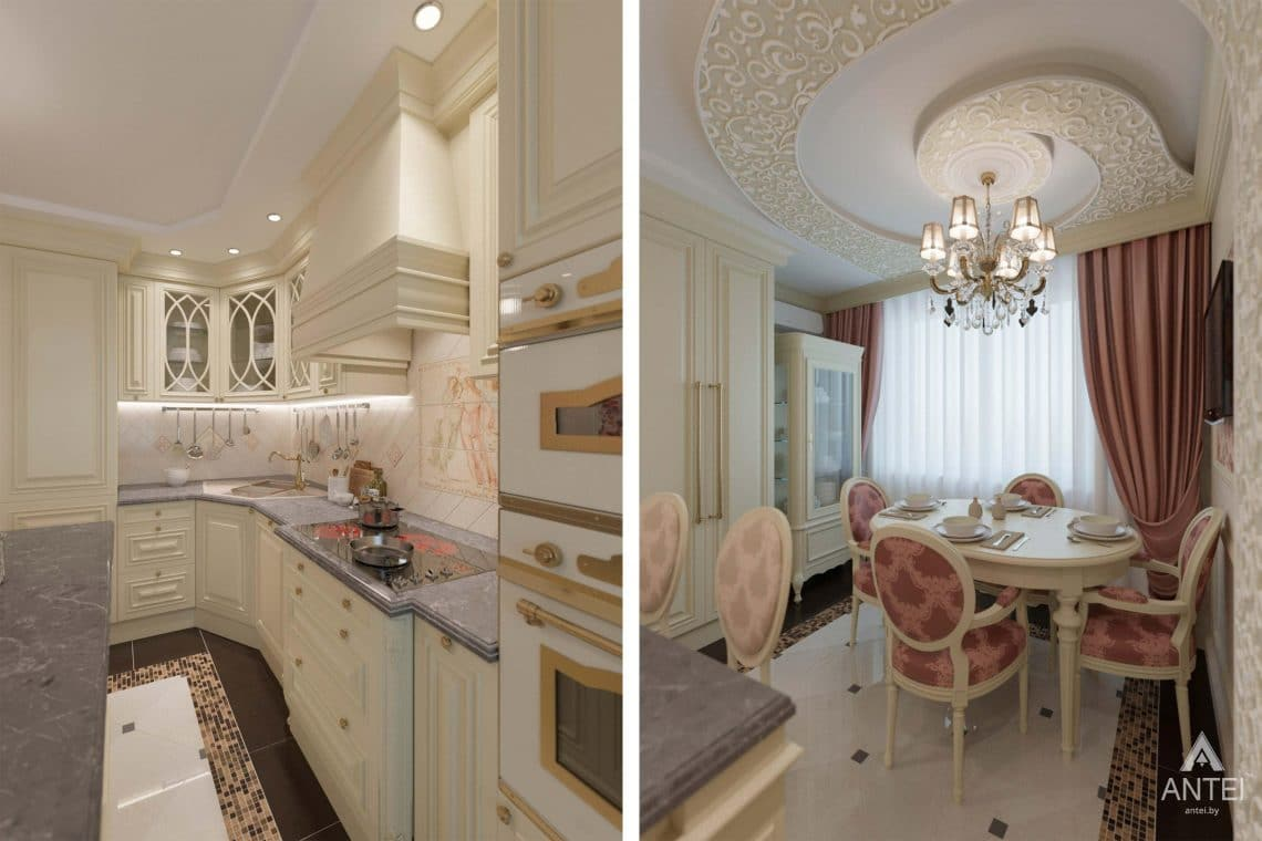Дизайн интерьера квартиры в Гомеле, ул. Кожара, 59а - кухня фото №3