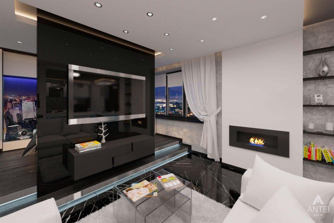 Дизайн интерьера квартиры-студии в Гомеле, ул. Кожара, 59а - гостиная фото №4