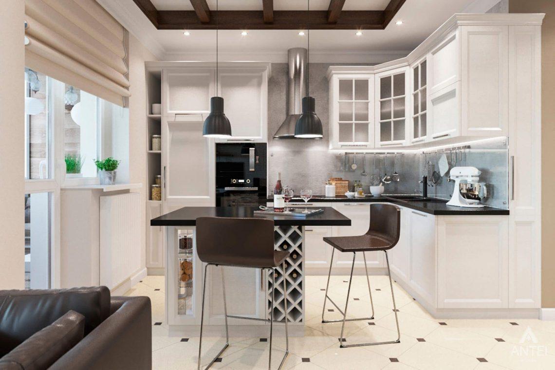 Дизайн интерьера трехкомнатной квартиры в Гомеле, ул.Тельмана - кухня-гостиная фото №5