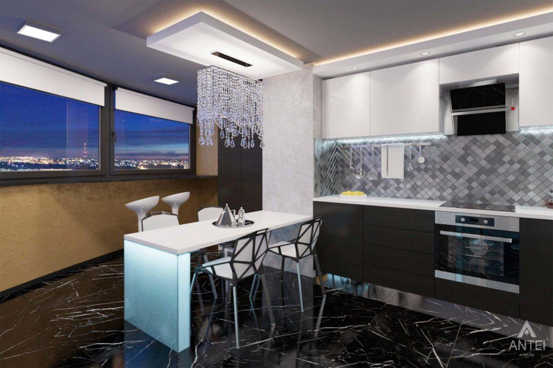 Дизайн интерьера квартиры-студии в Гомеле, ул. Кожара, 59а - кухня фото №1