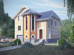 Проект двухэтажного дома с гаражом и цокольным этажом «КД-12»