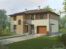 Проект двухэтажного дома с гаражом и лоджией «КД-14»