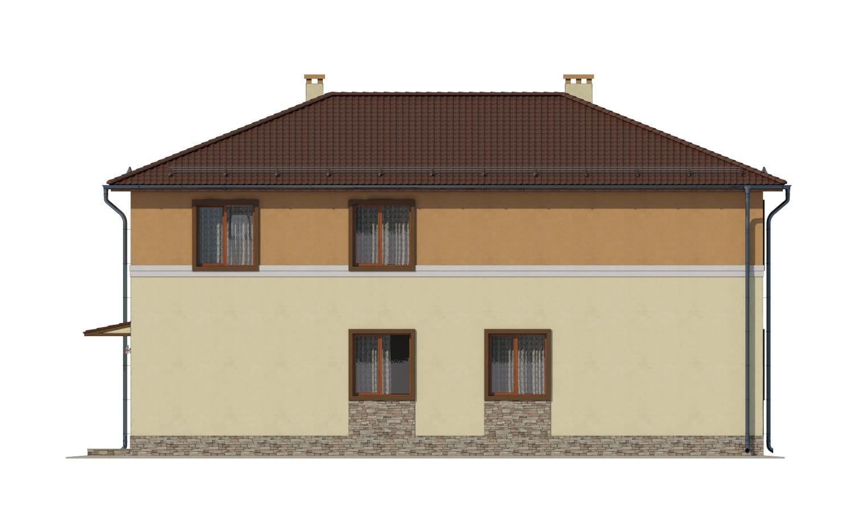 Фасад двухэтажного дома с гаражом и лоджией «КД-14» - сзади