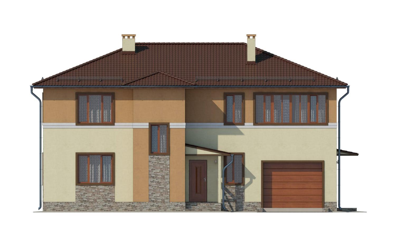 Фасад двухэтажного дома с гаражом и лоджией «КД-14» - спереди