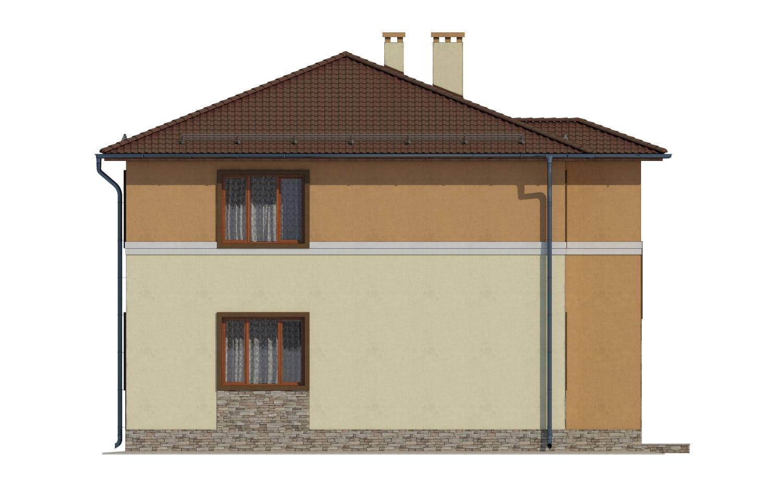 Фасад двухэтажного дома с гаражом и лоджией «КД-14» - слева
