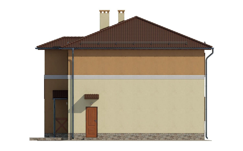 Фасад двухэтажного дома с гаражом и лоджией «КД-14» - справа