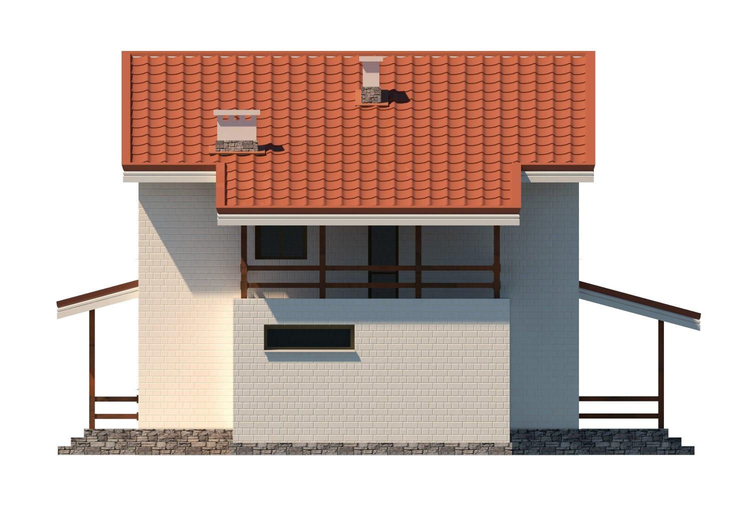 Фасад двухэтажного дома с гаражом и террасой «КД-15» - справа