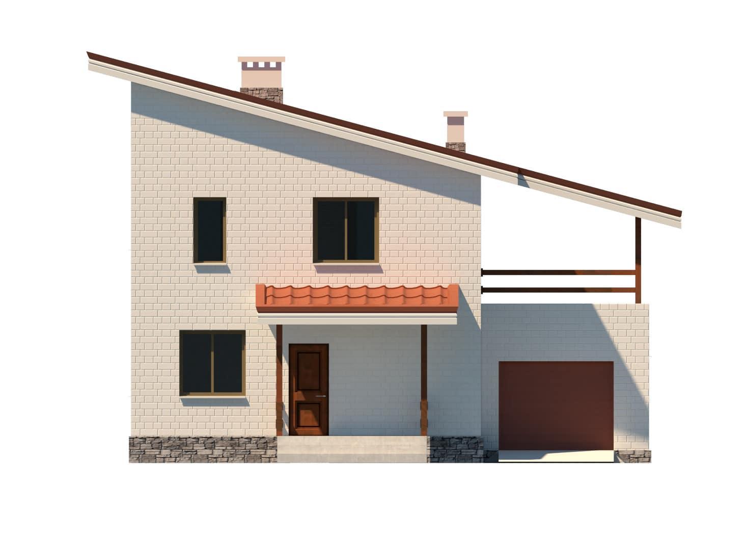 Фасад двухэтажного дома с гаражом и террасой «КД-15» - спереди