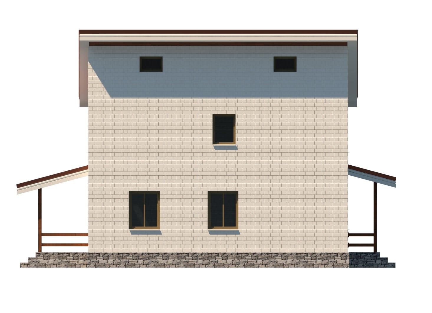 Фасад двухэтажного дома с гаражом и террасой «КД-15» - слева
