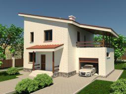 Проект двухэтажного дома с гаражом и террасой «КД-15»
