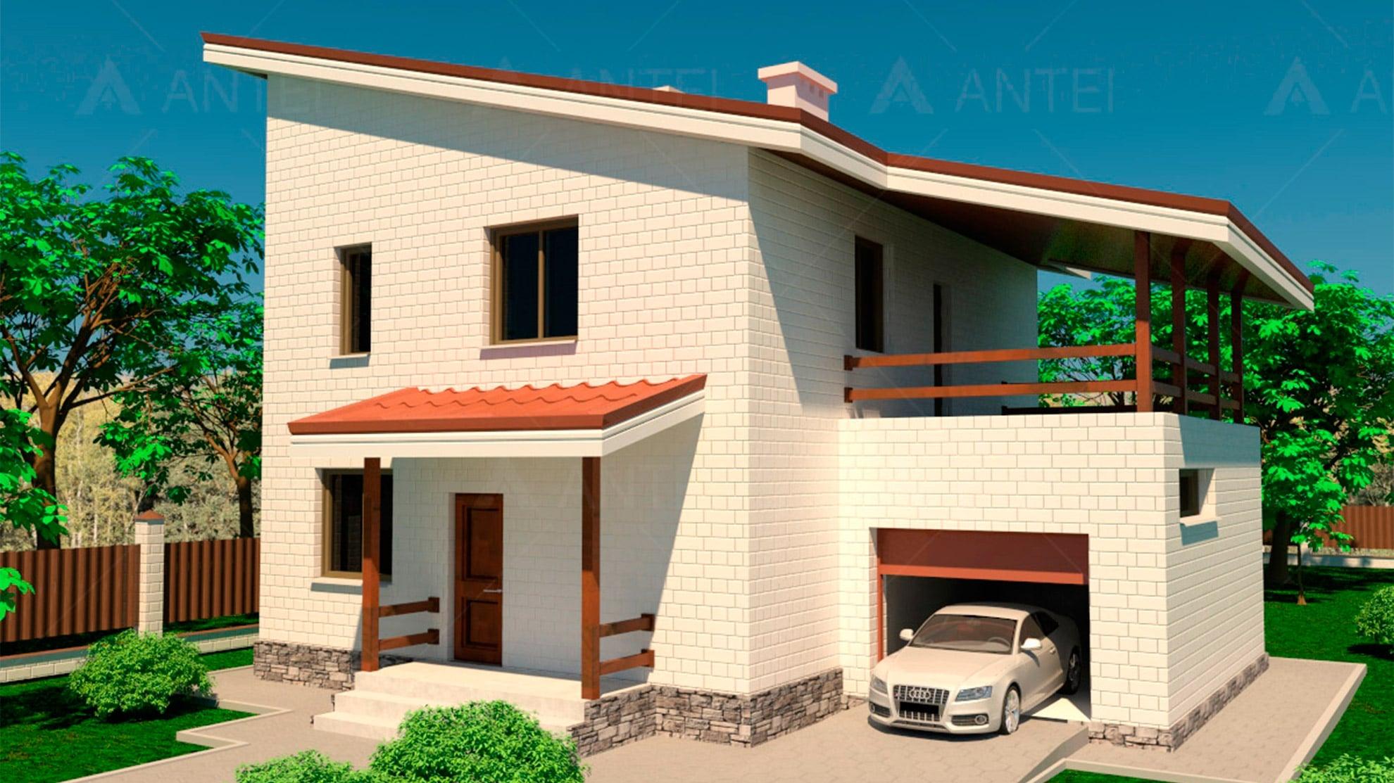 Проект двухэтажного дома с гаражом и террасой «КД-15» - фото №1