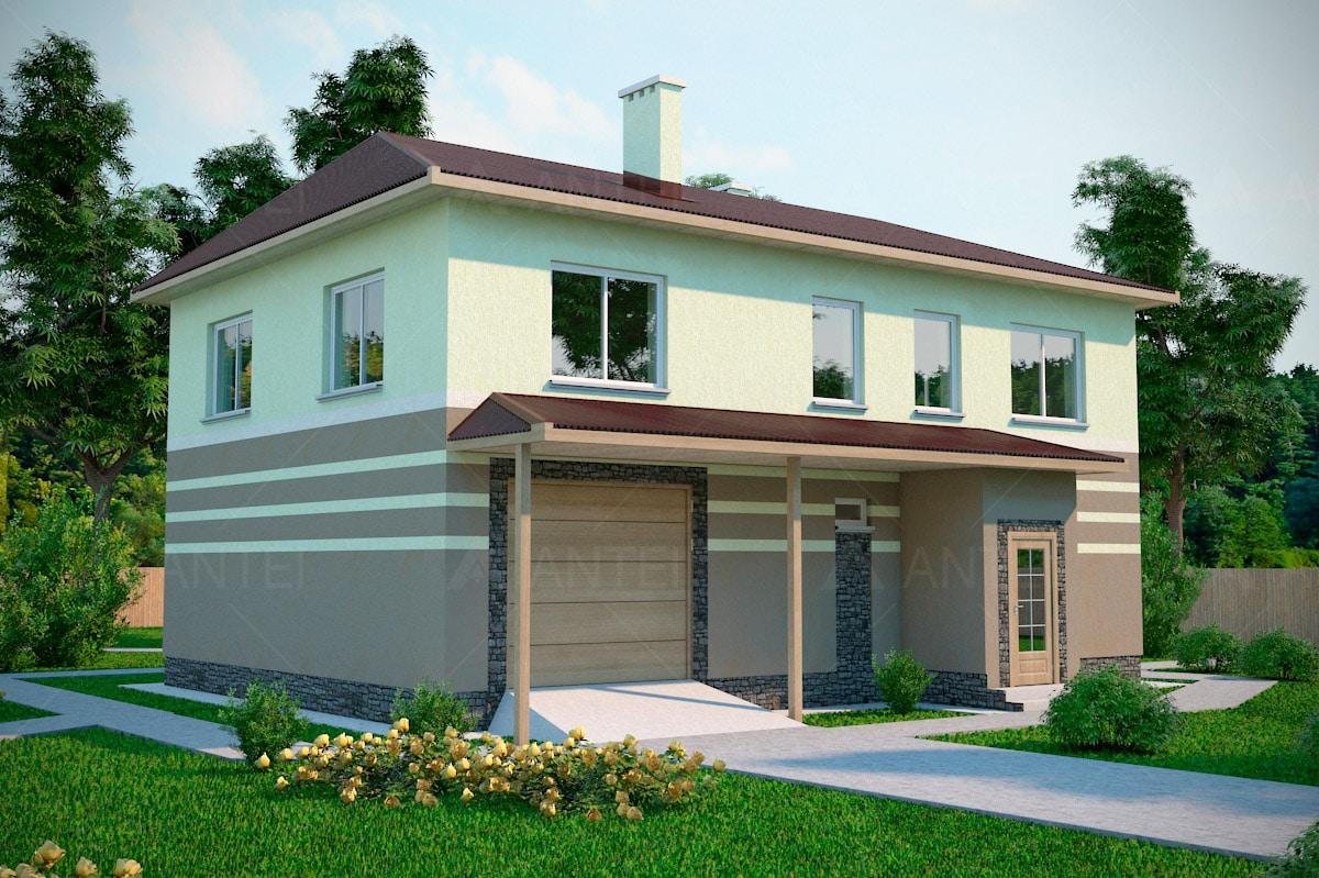 Проект двухэтажного дома с гаражом и террасой «КД-16» - фото №1