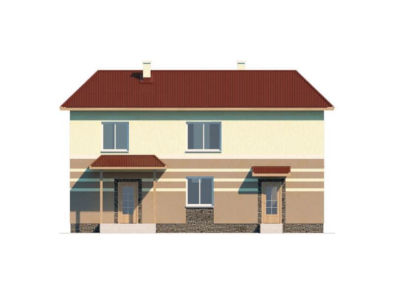Фасад двухэтажного дома с гаражом и террасой «КД-16» - сзади