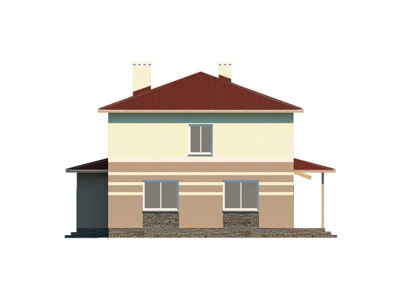 Фасад двухэтажного дома с гаражом и террасой «КД-16» - слева