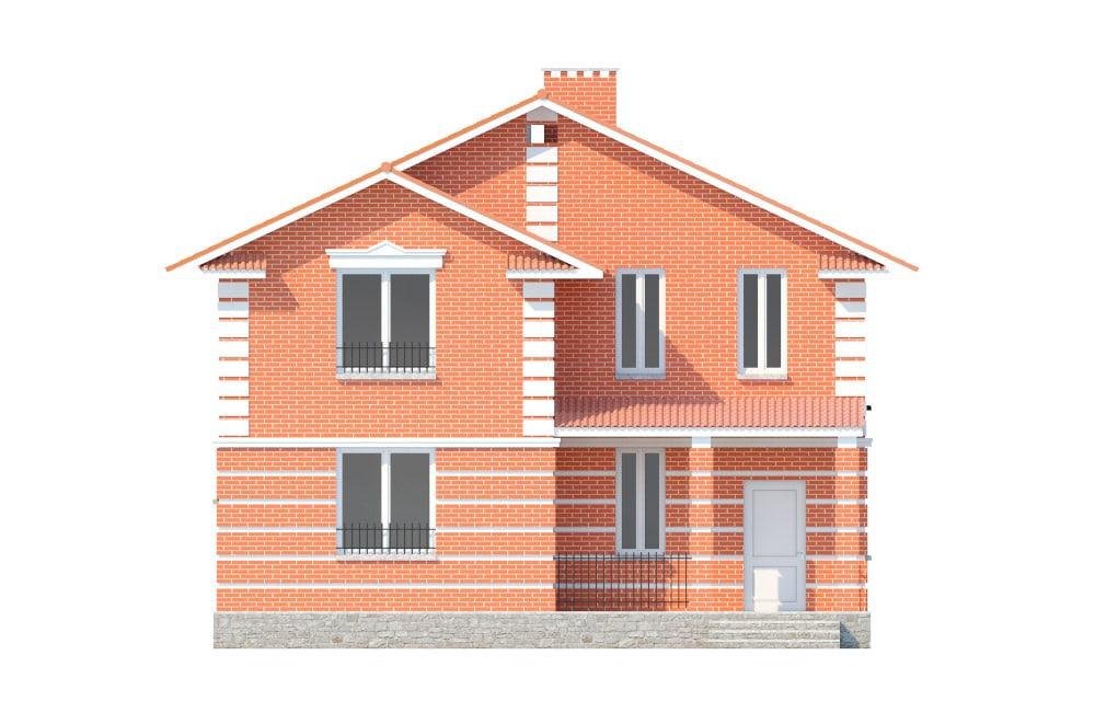 Фасад двухэтажного дома с террасой «КД-17» - спереди