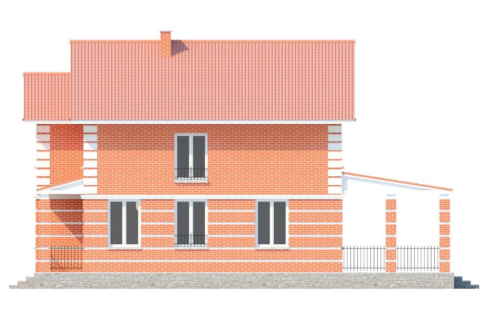 Фасад двухэтажного дома с террасой «КД-17» - слева