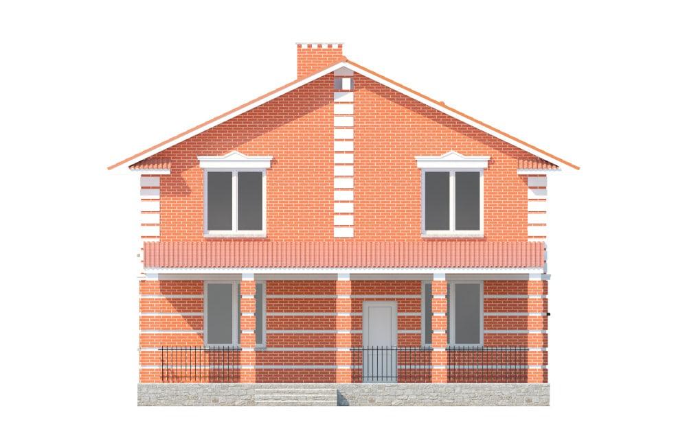 Фасад двухэтажного дома с террасой «КД-17» - сзади