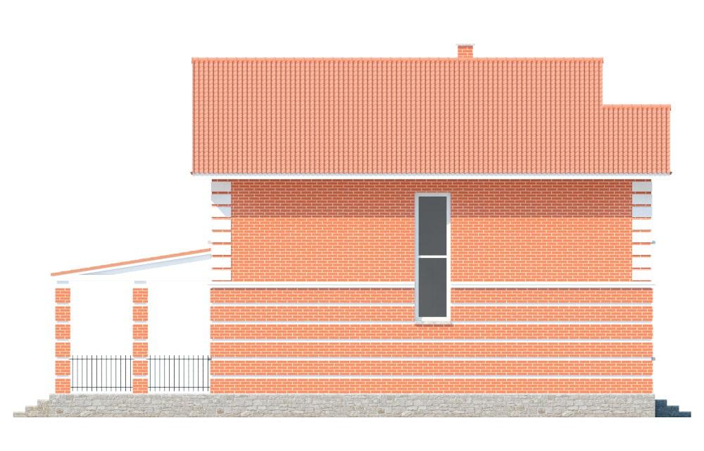 Фасад двухэтажного дома с террасой «КД-17» - справа