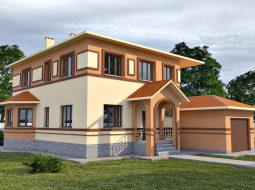 Проект двухэтажного дома с гаражом и террасой «КД-18»