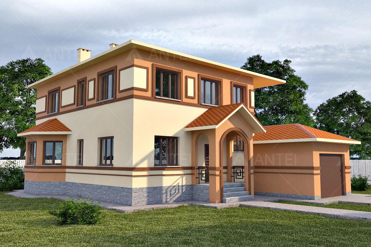 Проект двухэтажного дома с гаражом и террасой «КД-18» - фото №1