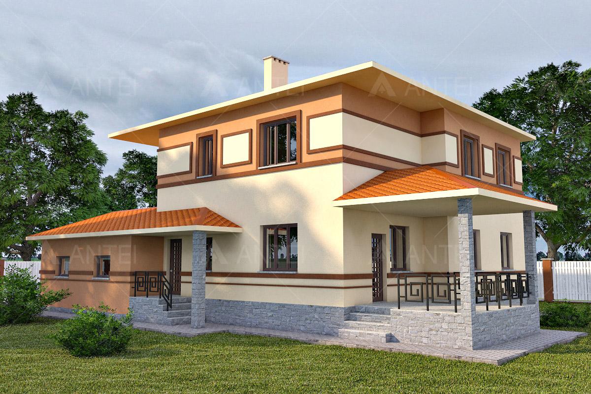 Проект двухэтажного дома с гаражом и террасой «КД-18» - фото №2
