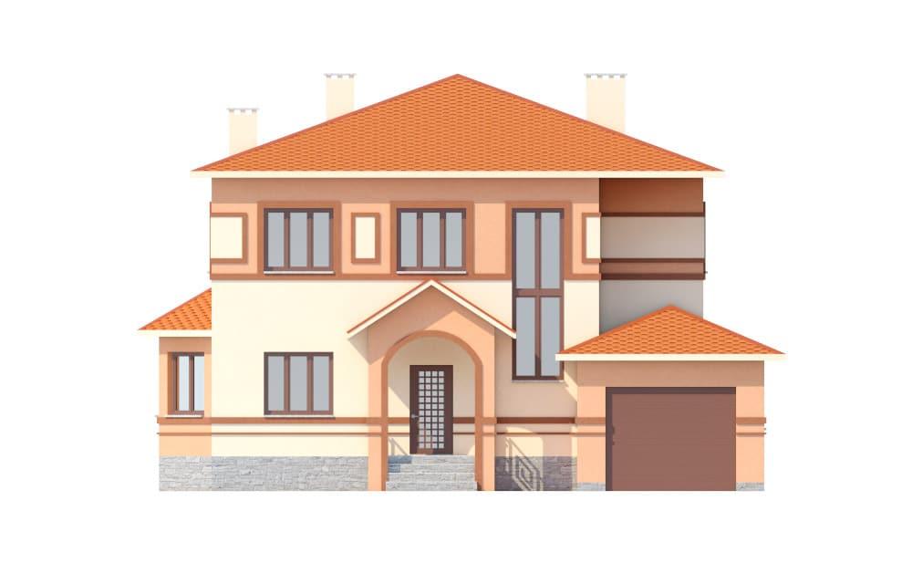 Фасад двухэтажного дома с гаражом и террасой «КД-18» спереди