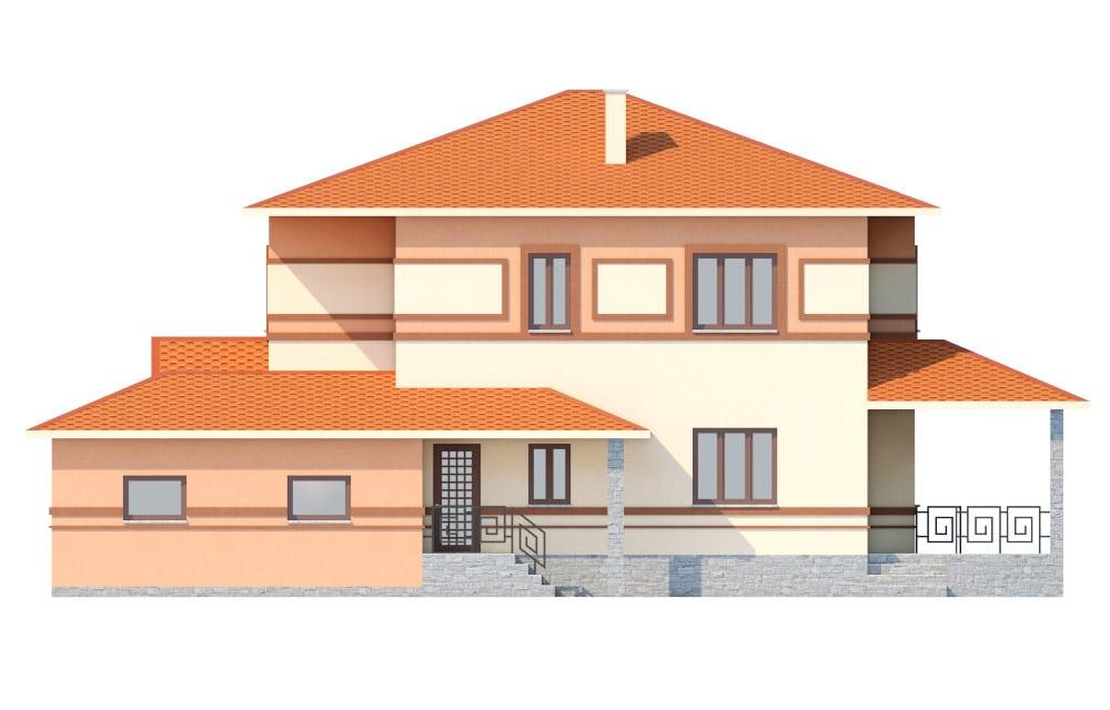 Фасад двухэтажного дома с гаражом и террасой «КД-18» справа