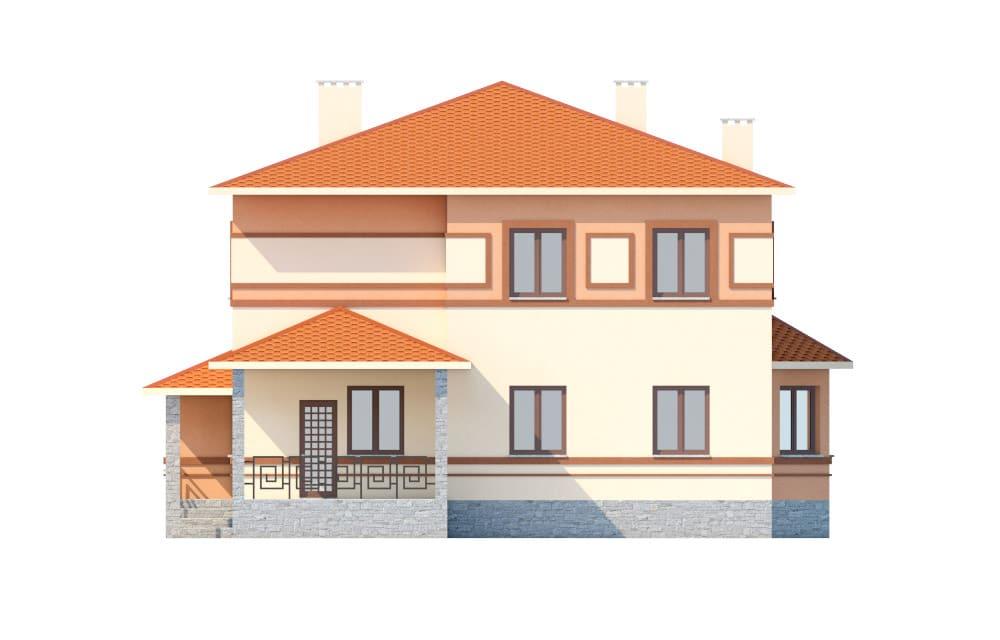 Фасад двухэтажного дома с гаражом и террасой «КД-18» сзади