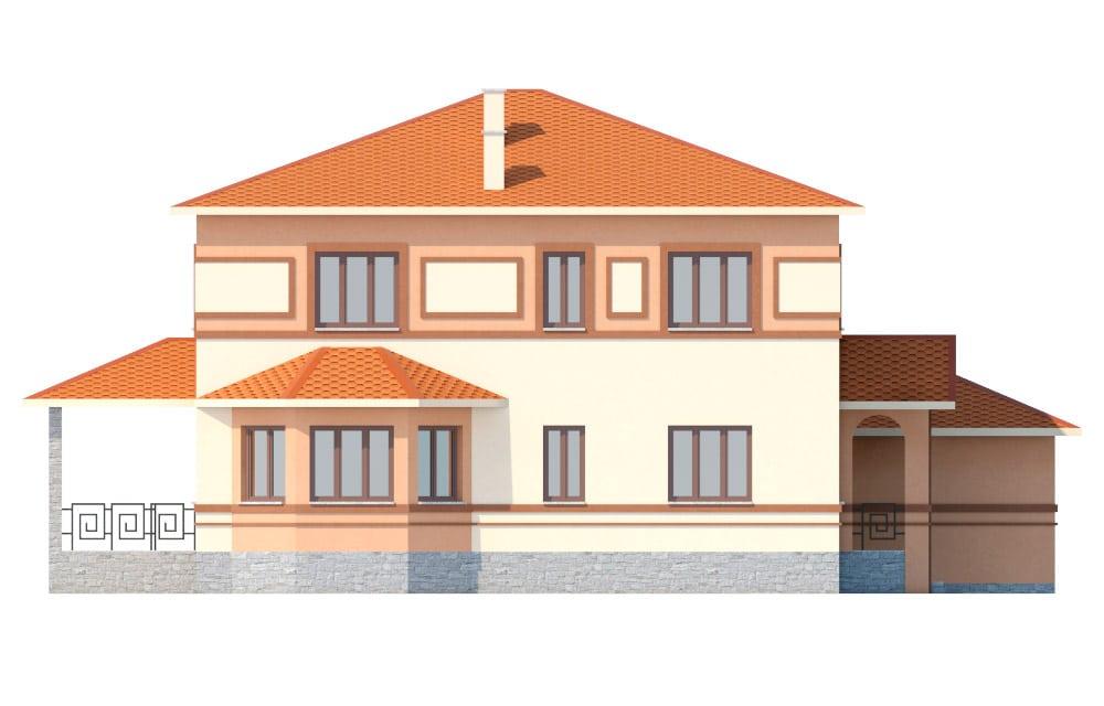 Фасад двухэтажного дома с гаражом и террасой «КД-18» слева