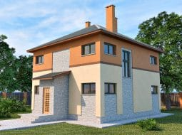 Проект двухэтажного дома с подвалом и верандой «КД-19»